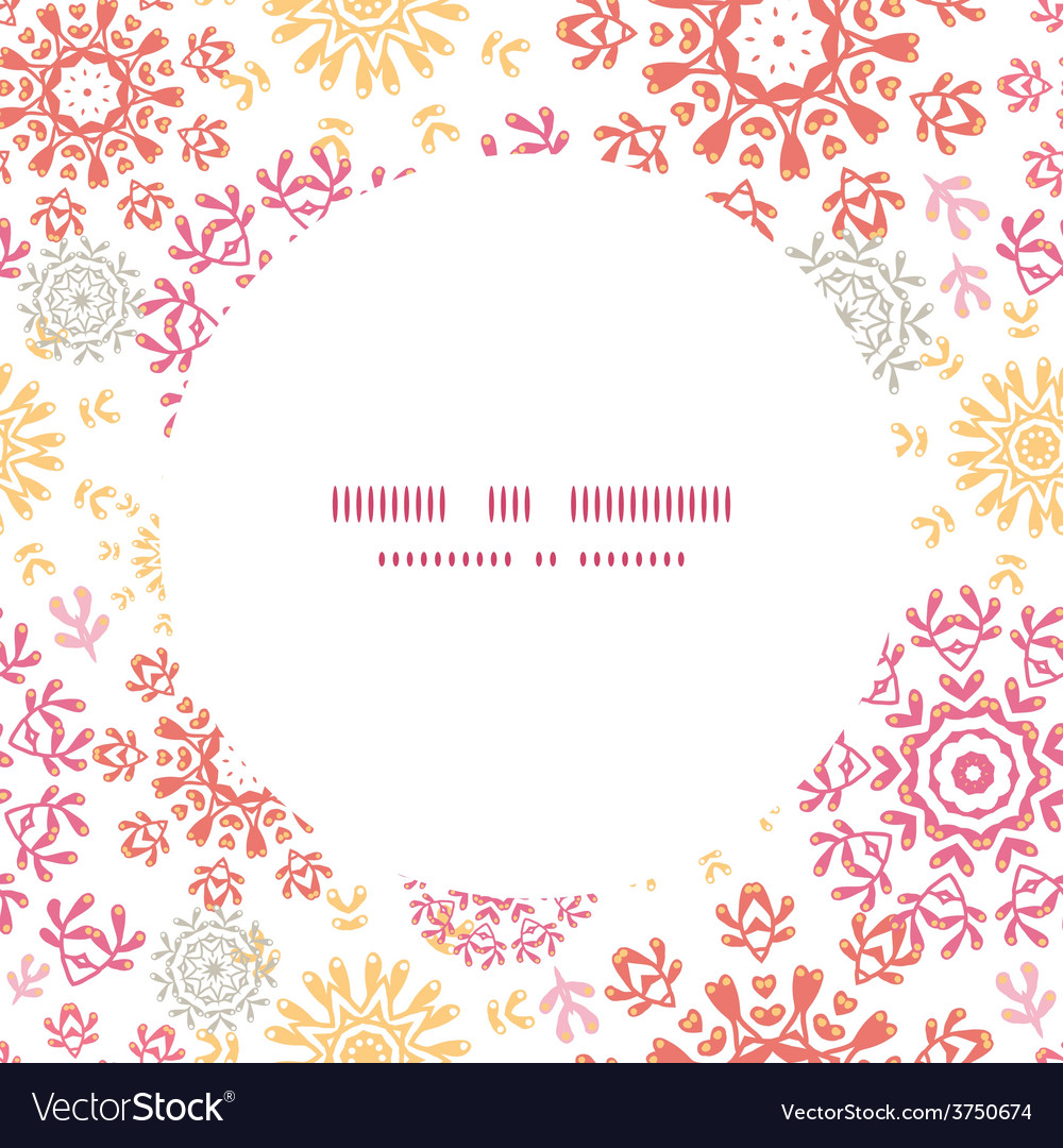 Folk floral circles abstract frame seamless vector | Price: 1 Credit (USD $1)