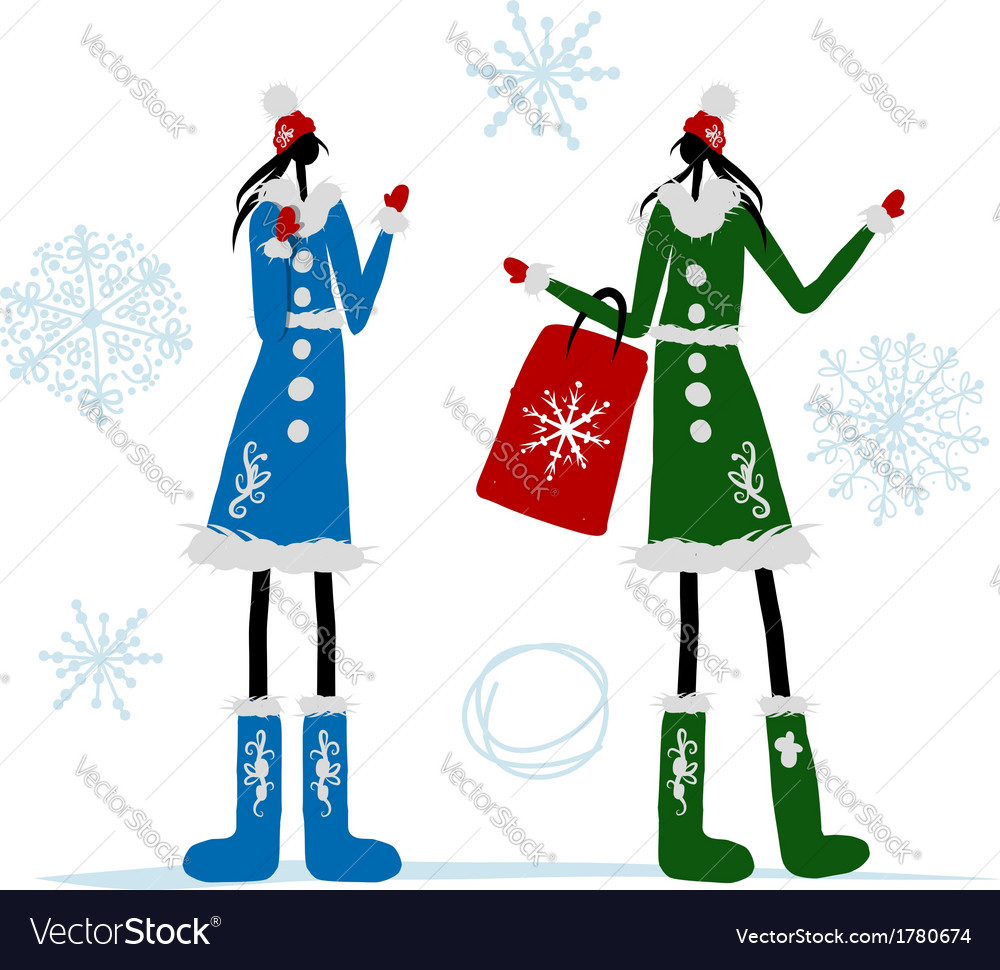 Girls in winter coat with shopping bag for your vector   Price: 1 Credit (USD $1)
