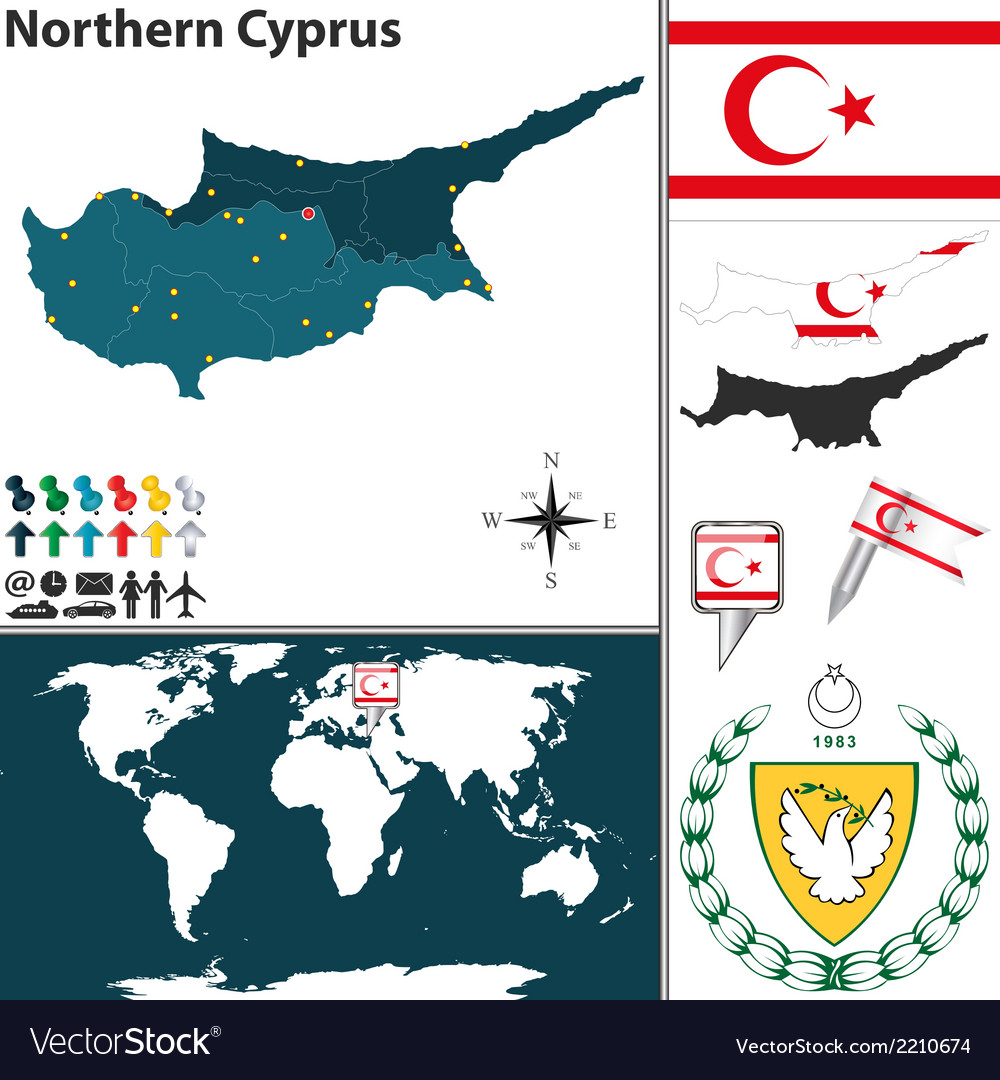 Northern cyprus map vector | Price: 1 Credit (USD $1)
