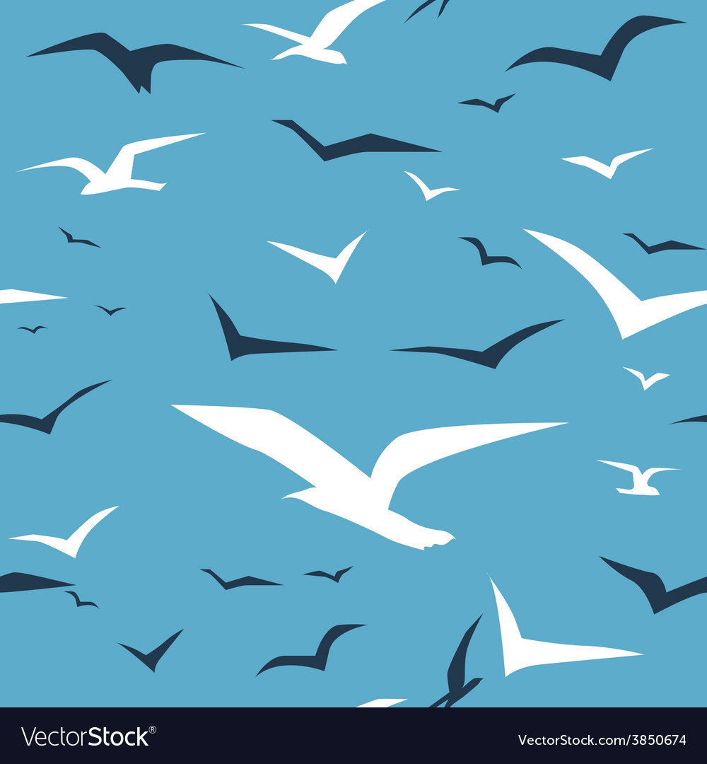 Seagulls and blue ocean seamless pattern vector | Price: 1 Credit (USD $1)