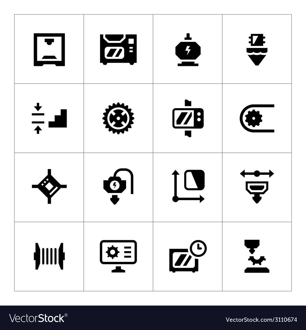 Set icons of 3d printing vector | Price: 1 Credit (USD $1)