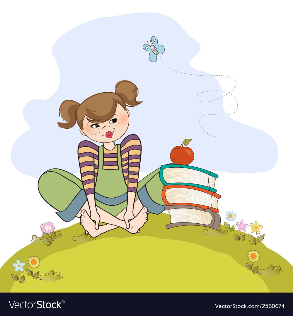 Studious girl sitting barefoot in the grass vector | Price: 1 Credit (USD $1)