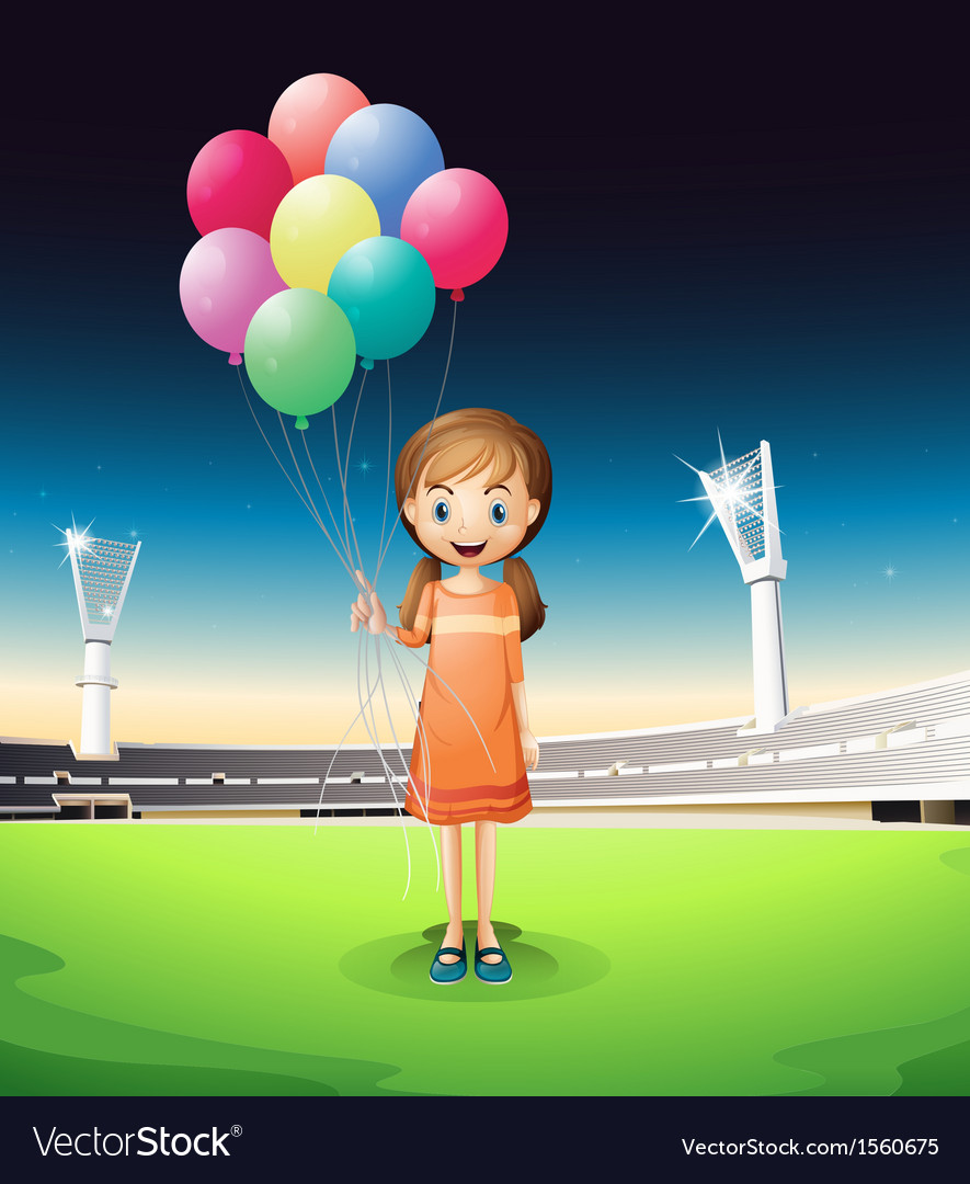 A girl holding balloons standing in the middle of vector | Price: 3 Credit (USD $3)