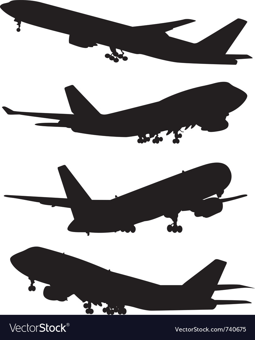 Airplane silhouette set vector | Price: 1 Credit (USD $1)