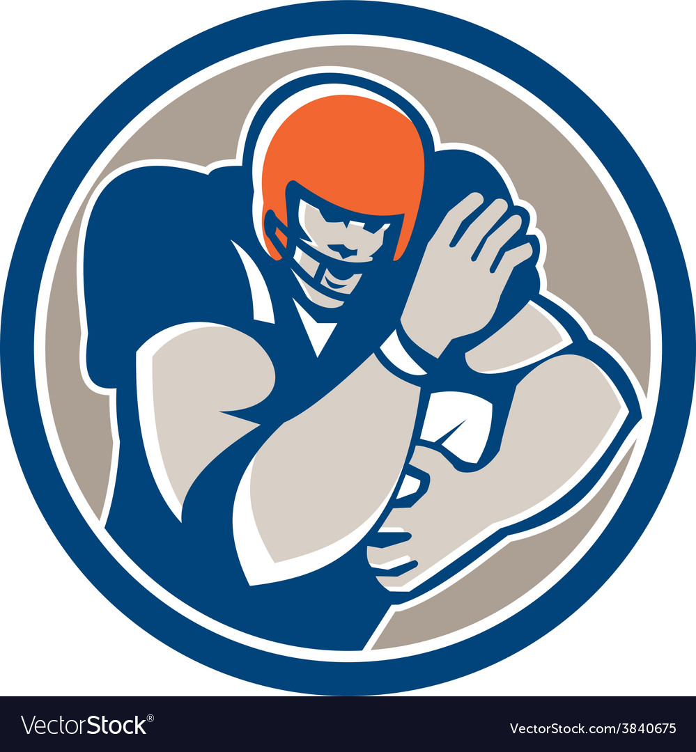American football player fend off circle retro vector | Price: 1 Credit (USD $1)