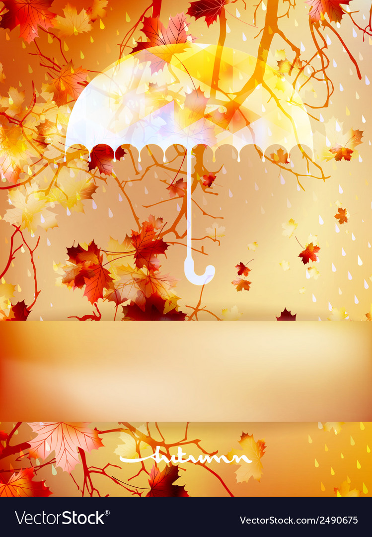 Autumn background with umbrella and leaves eps 10 vector   Price: 1 Credit (USD $1)