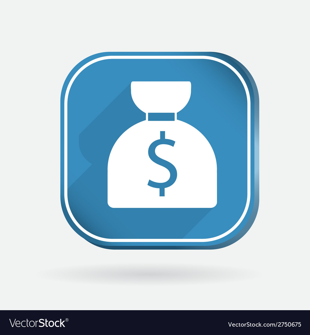 Bag of money color square icon vector | Price: 1 Credit (USD $1)