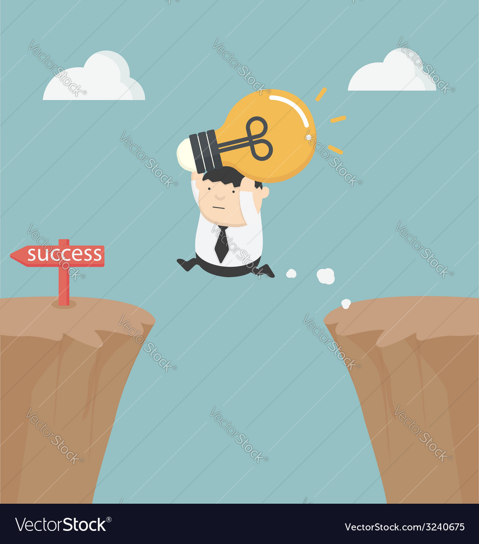 Fat businessman holding a light bulb over the clif vector   Price: 1 Credit (USD $1)
