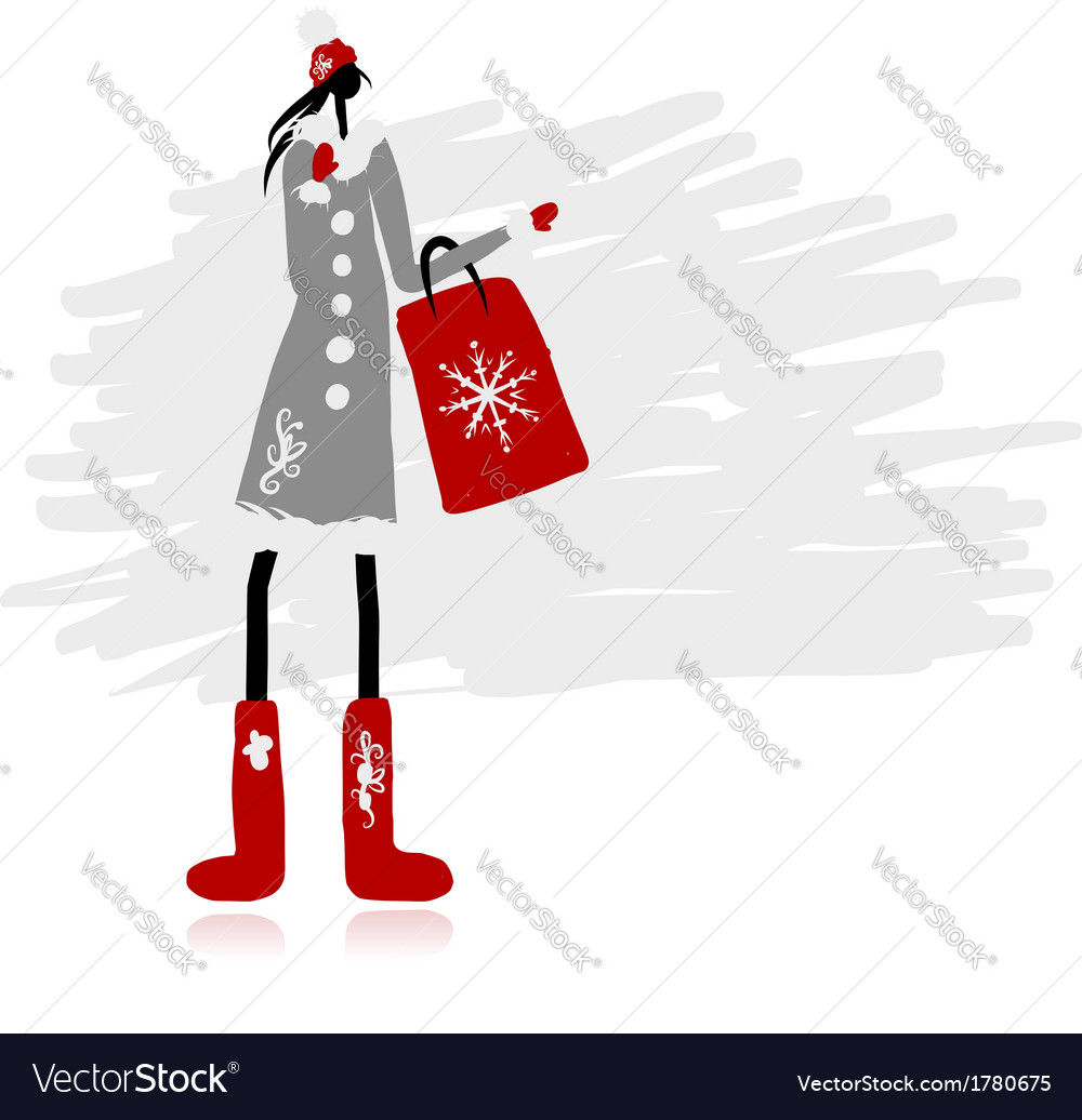 Girl in winter coat with shopping bag for your vector | Price: 1 Credit (USD $1)