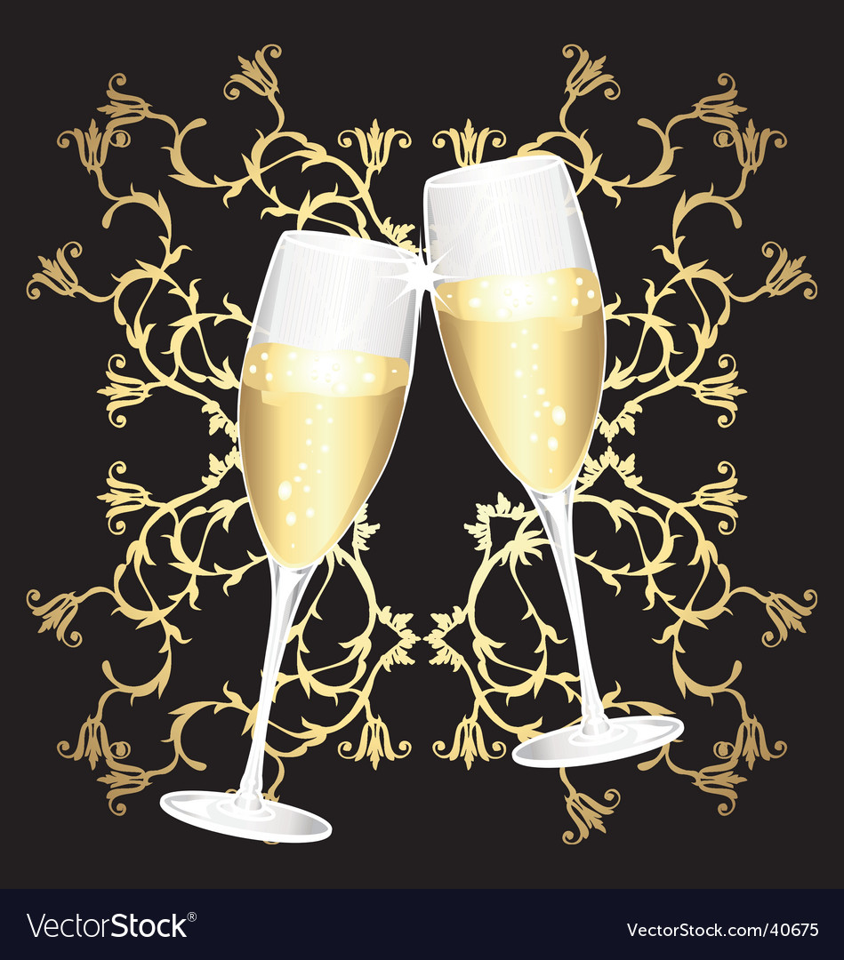 Golden flower cups of champagne vector | Price: 1 Credit (USD $1)