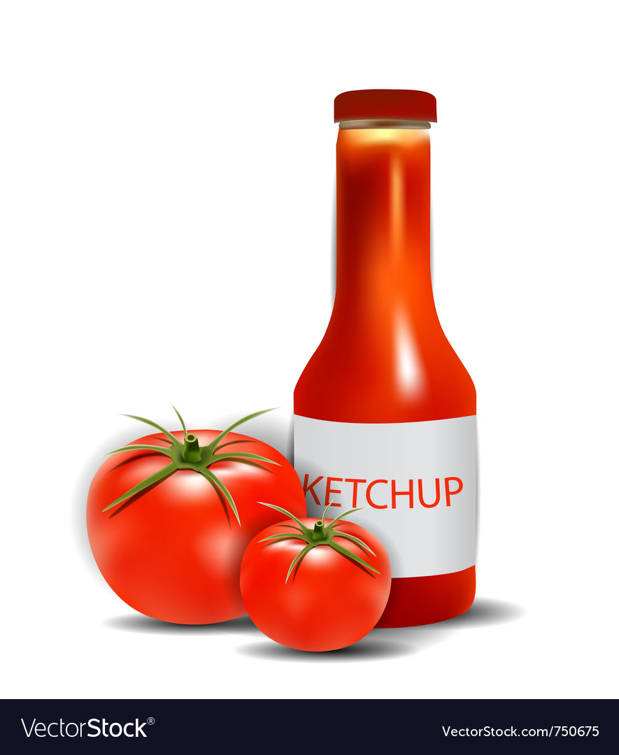 Ketchup bottle with tomatoes vector | Price: 1 Credit (USD $1)