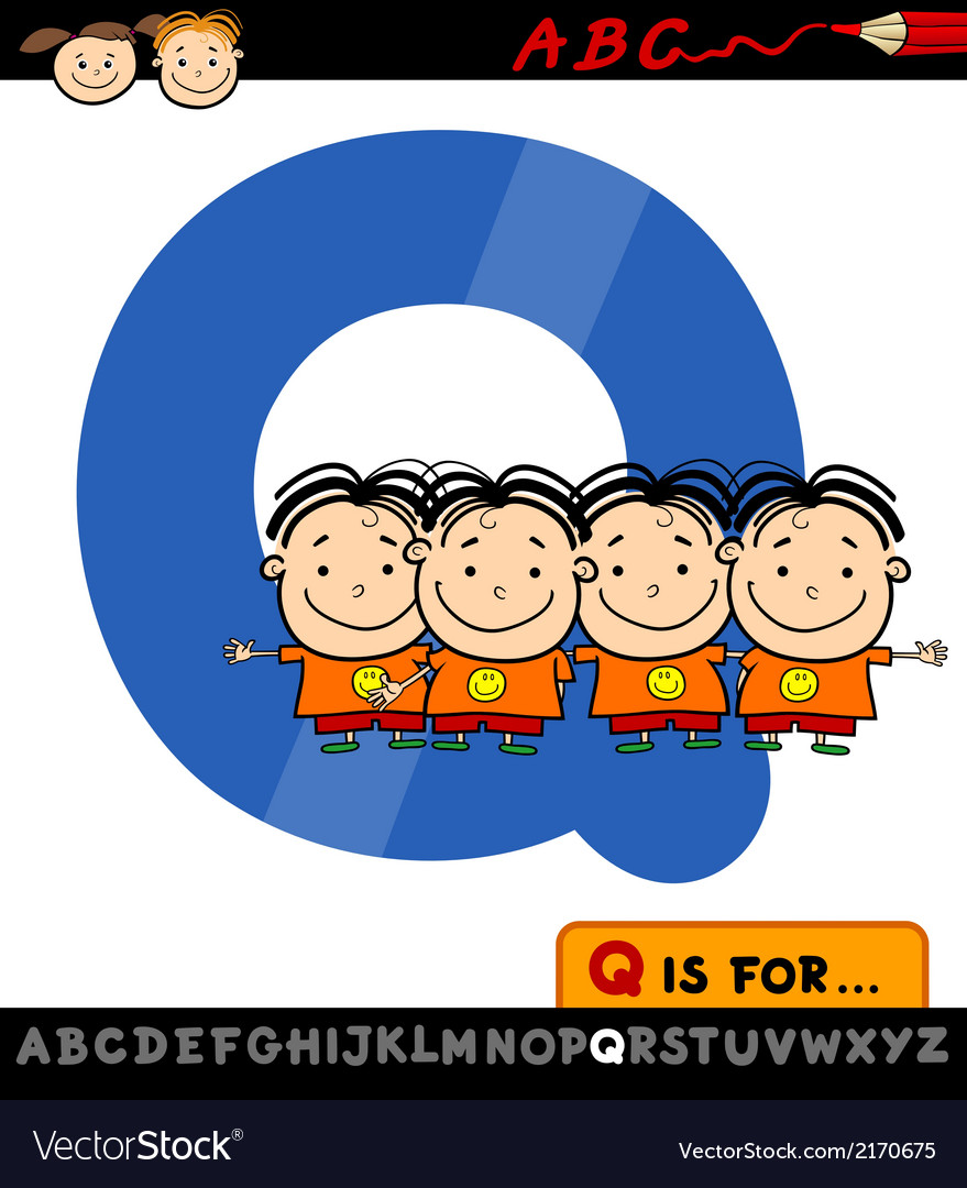 Letter q with quadruplets vector | Price: 1 Credit (USD $1)