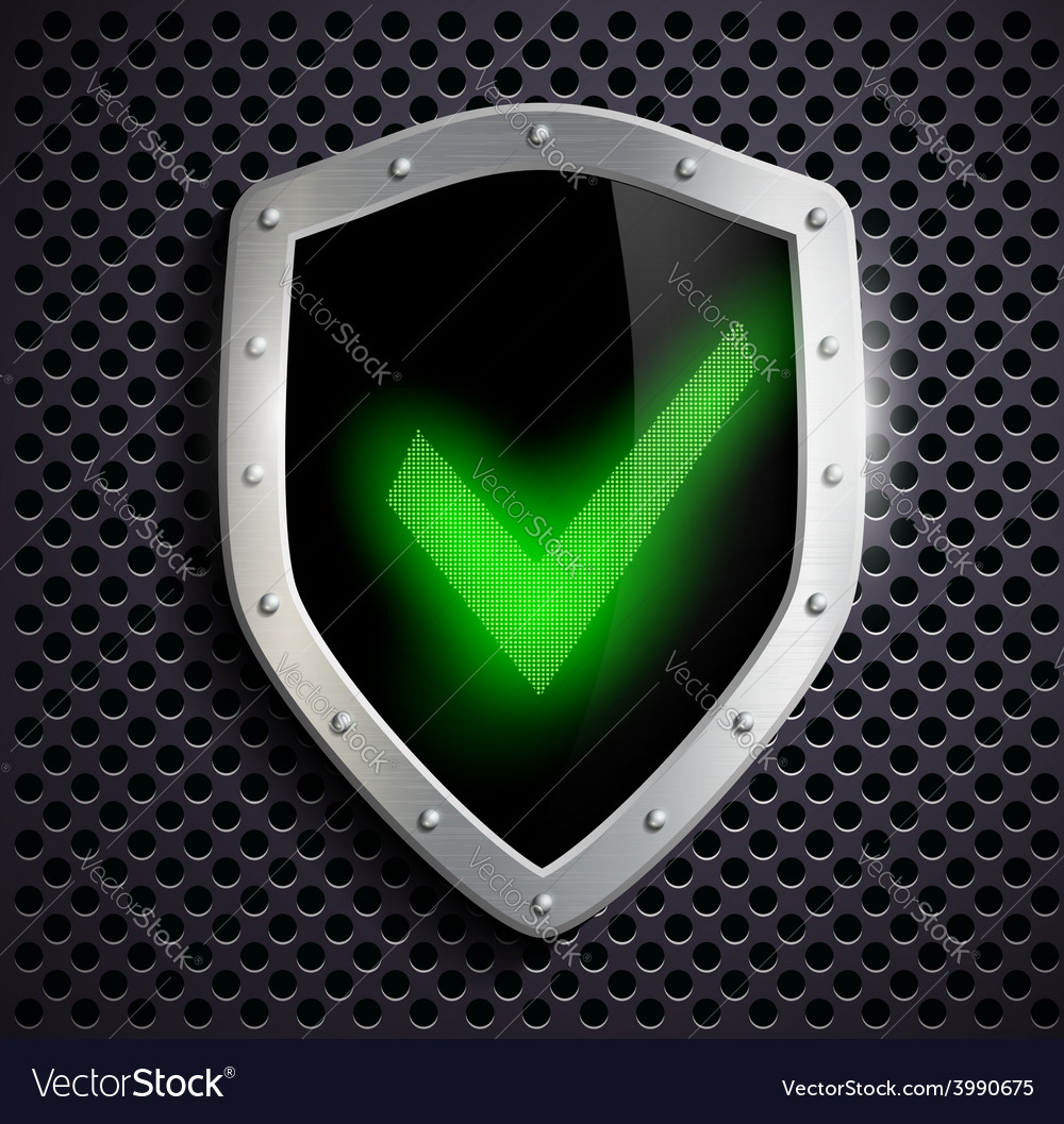 Metal shield with green tick vector | Price: 1 Credit (USD $1)