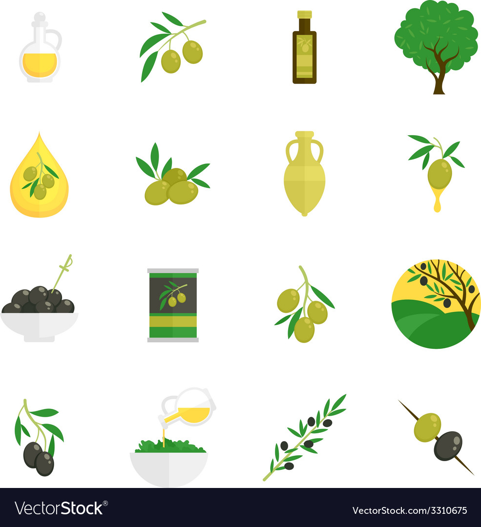 Olives icons flat vector | Price: 1 Credit (USD $1)