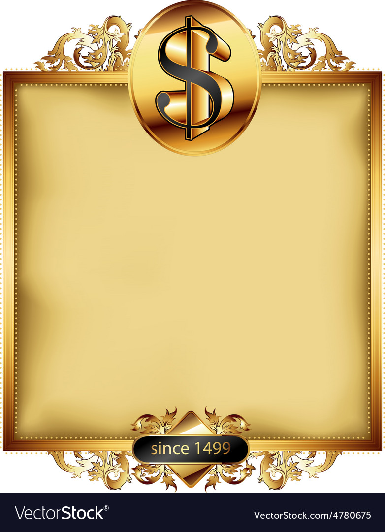 Ornate frame with dollar symbol vector   Price: 3 Credit (USD $3)