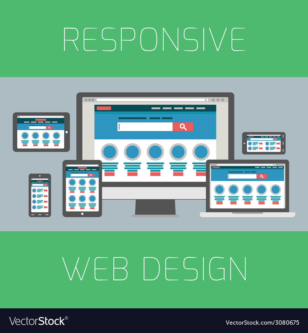 Set of flat design concepts concept for responsive vector | Price: 1 Credit (USD $1)