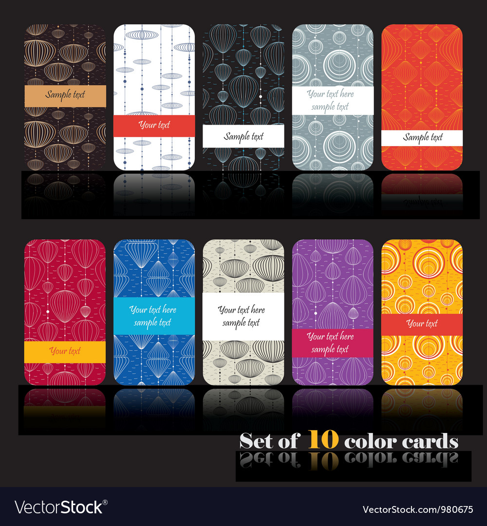 Set of ten decorative cards vector | Price: 1 Credit (USD $1)