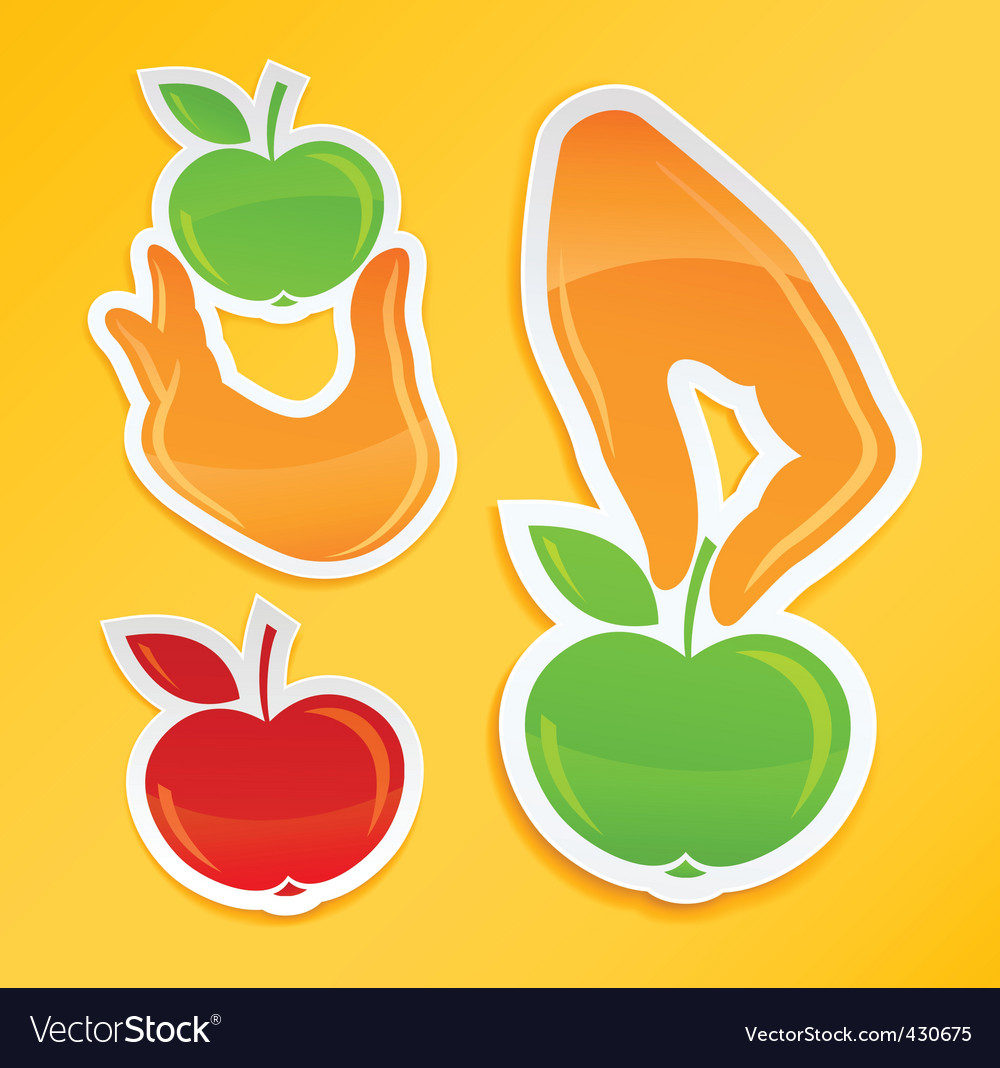 Sticker with hand holding apple vector | Price: 1 Credit (USD $1)