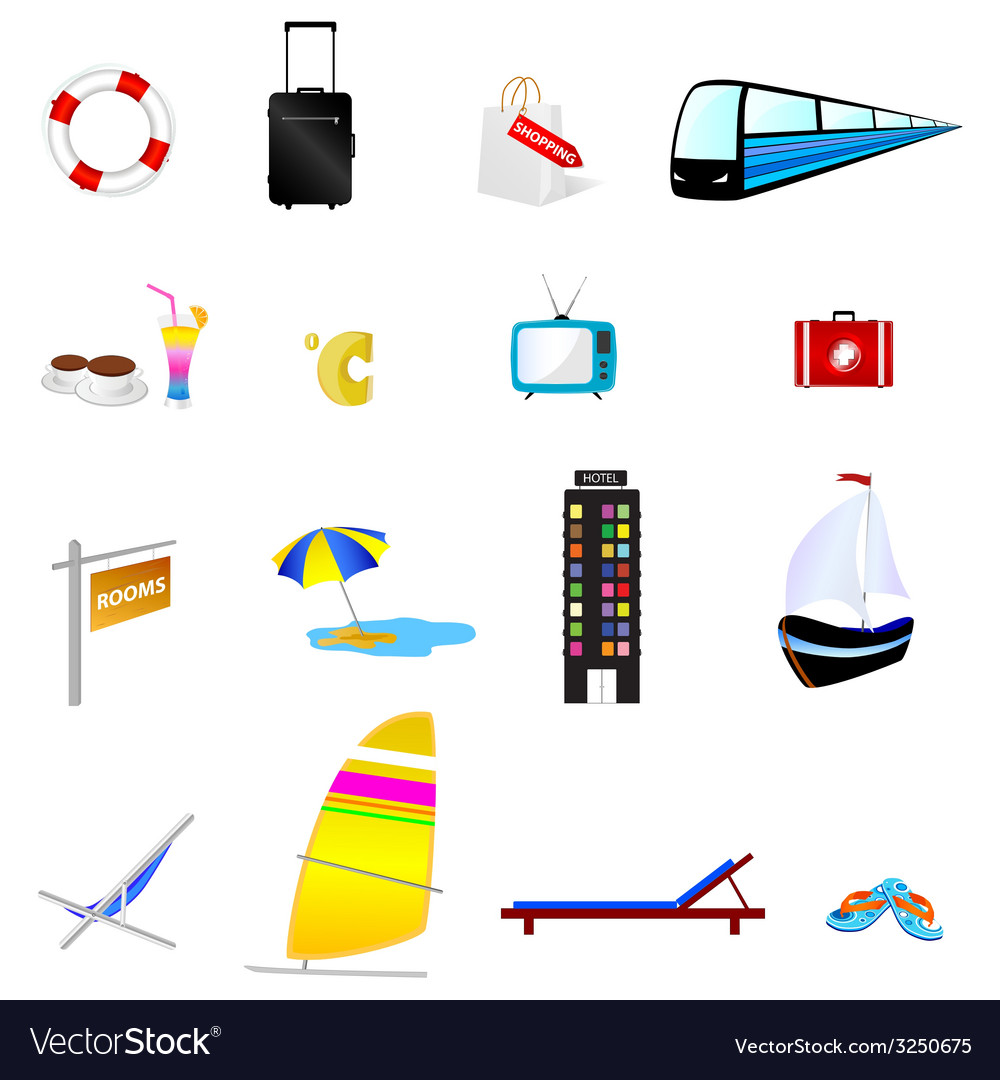Travel icon set one with train and boat vector | Price: 1 Credit (USD $1)