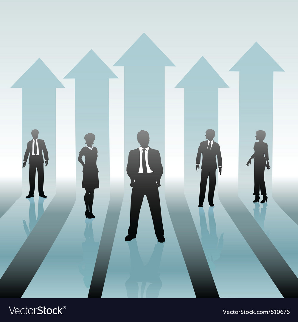 Business people team on move up arrows vector | Price: 1 Credit (USD $1)