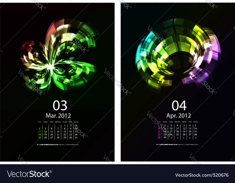 Calendar set vector | Price: 1 Credit (USD $1)