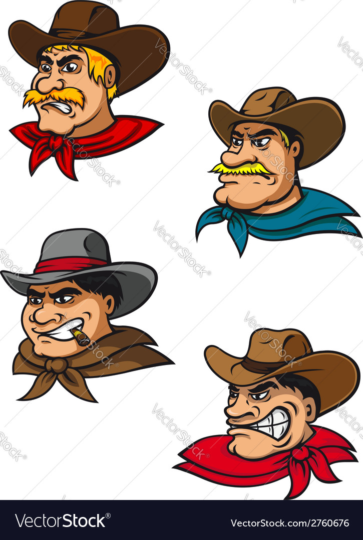 Cartoon western brutal cowboys mascots vector | Price: 1 Credit (USD $1)