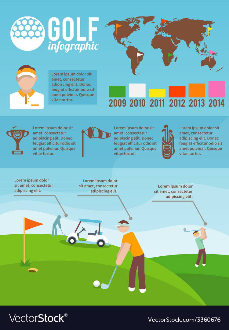 Golf infographics set vector | Price: 1 Credit (USD $1)