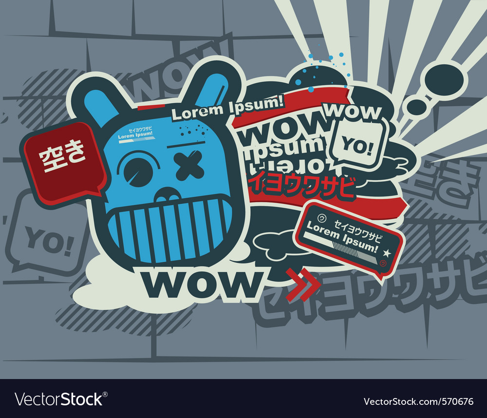 Graffiti blue character vector | Price: 1 Credit (USD $1)