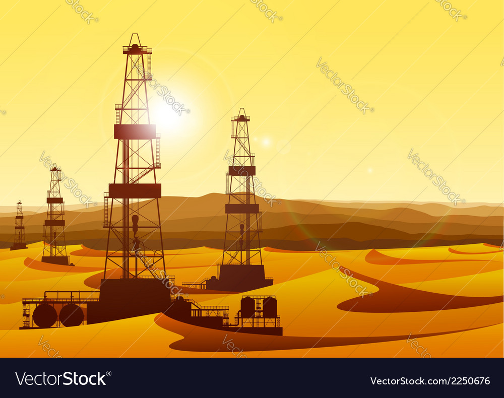 Landscape whith oil rigs in barren desert with vector | Price: 3 Credit (USD $3)