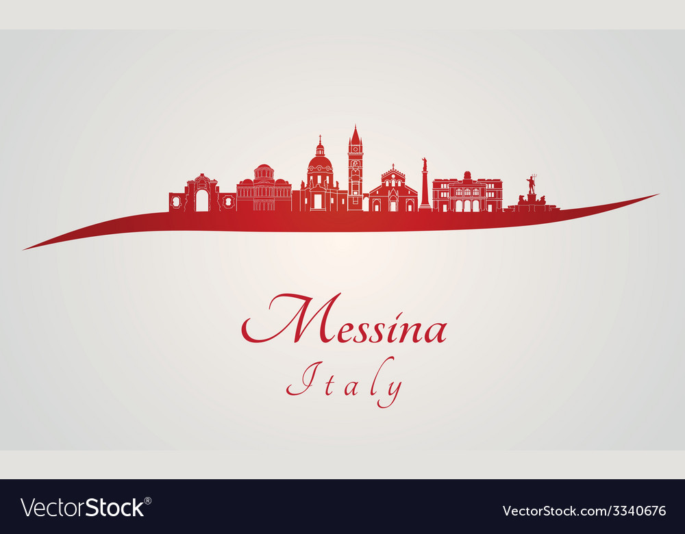 Messina skyline in red vector | Price: 1 Credit (USD $1)