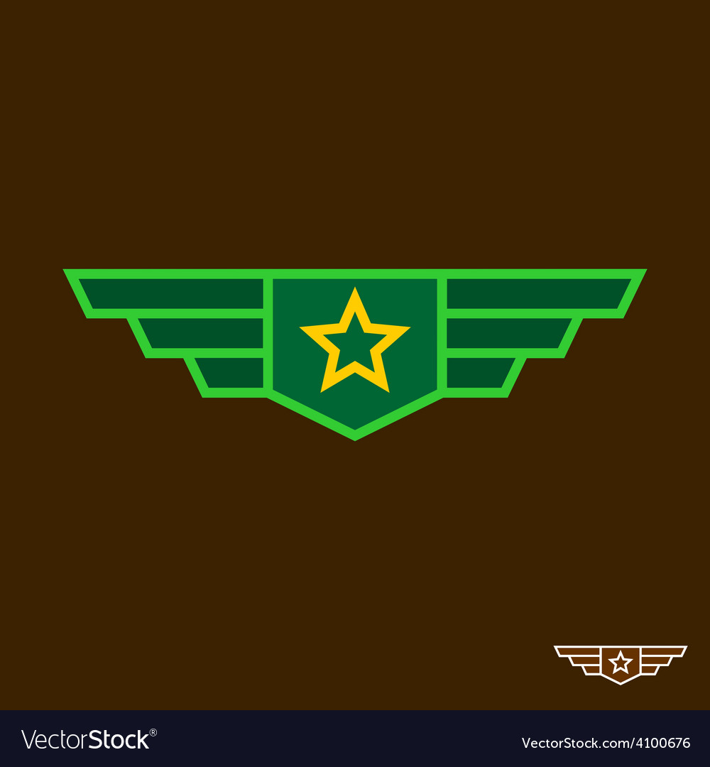 Military badge with wings chinese army sign vector | Price: 1 Credit (USD $1)