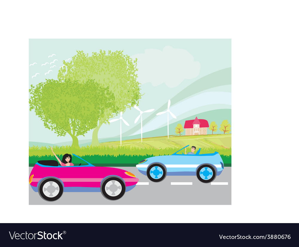 Ride car on a summer day vector | Price: 1 Credit (USD $1)