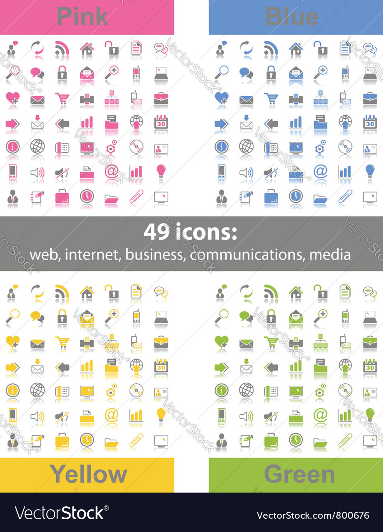 Set of 49 web icons vector | Price: 1 Credit (USD $1)