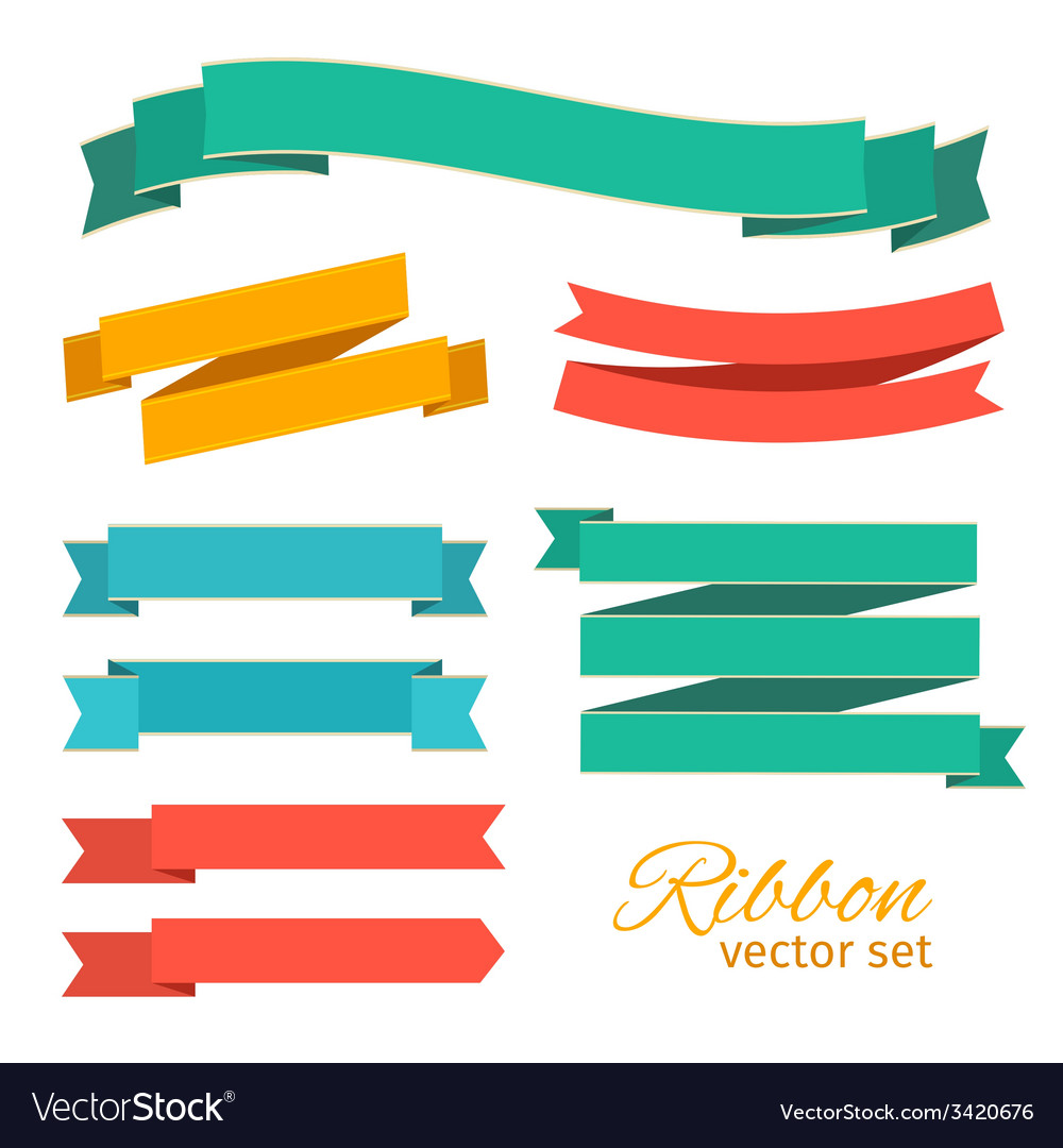 Set of ribbons vintage style for design vector | Price: 1 Credit (USD $1)