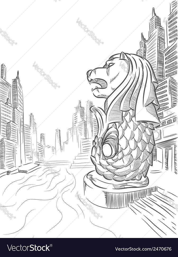 Sketch of singapore tourism landmark merlion vector | Price: 1 Credit (USD $1)