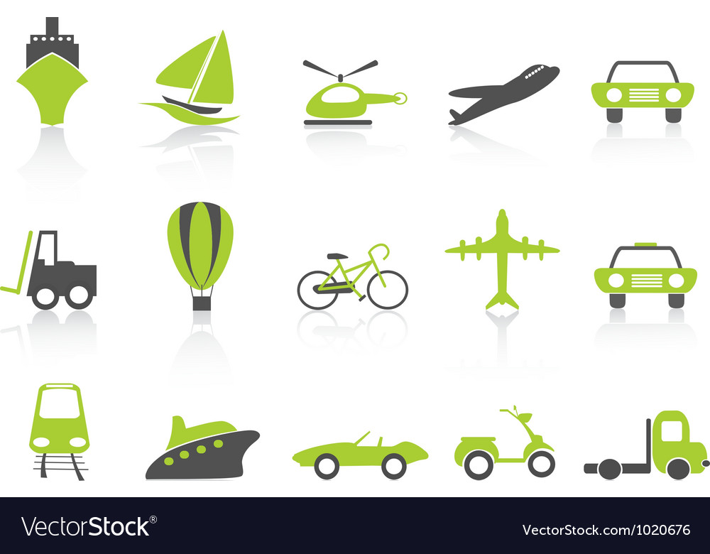 Transportation icons nature green series vector | Price: 1 Credit (USD $1)