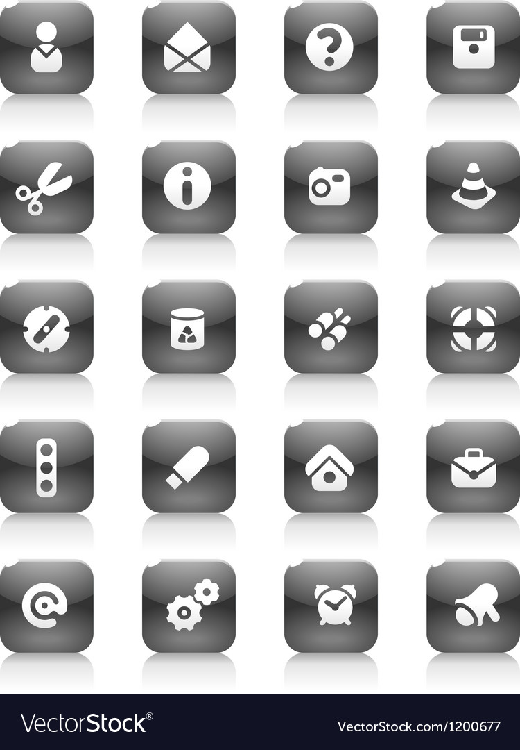 Black buttons miscellaneous vector | Price: 1 Credit (USD $1)