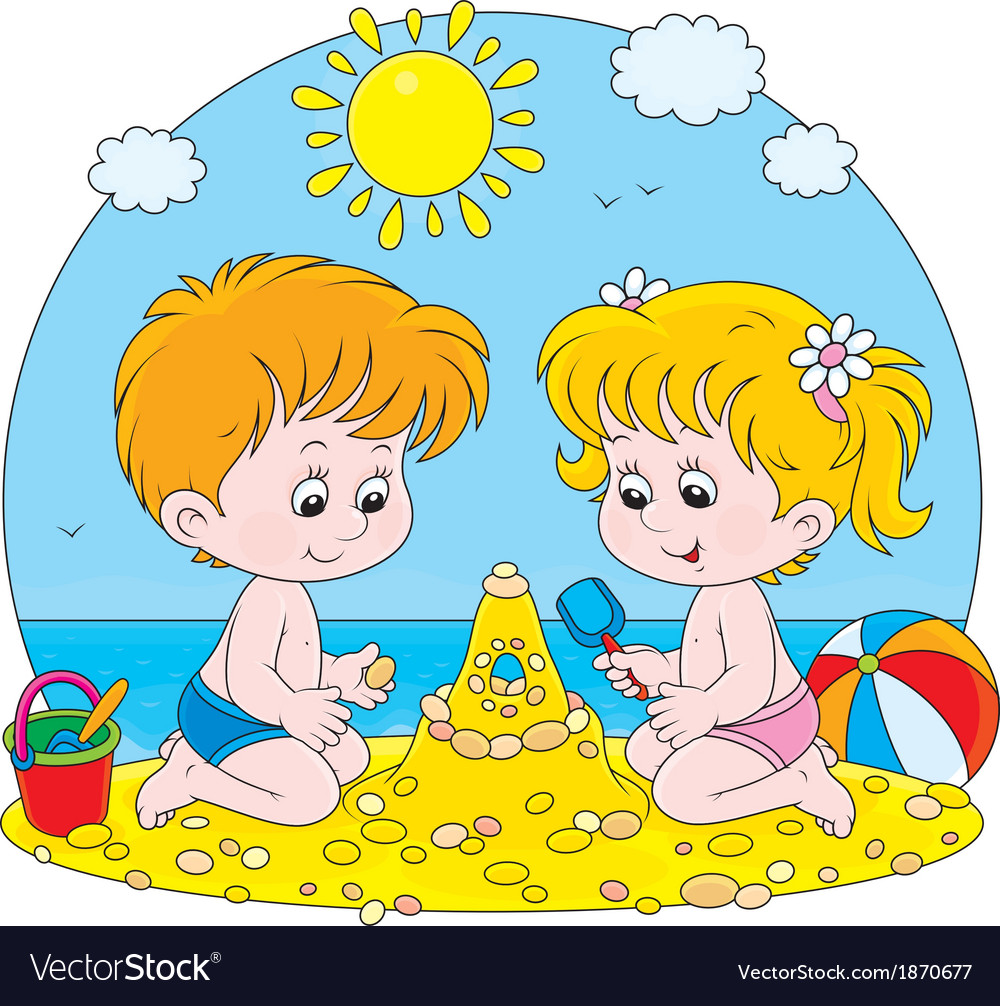 Children play on a beach vector | Price: 1 Credit (USD $1)