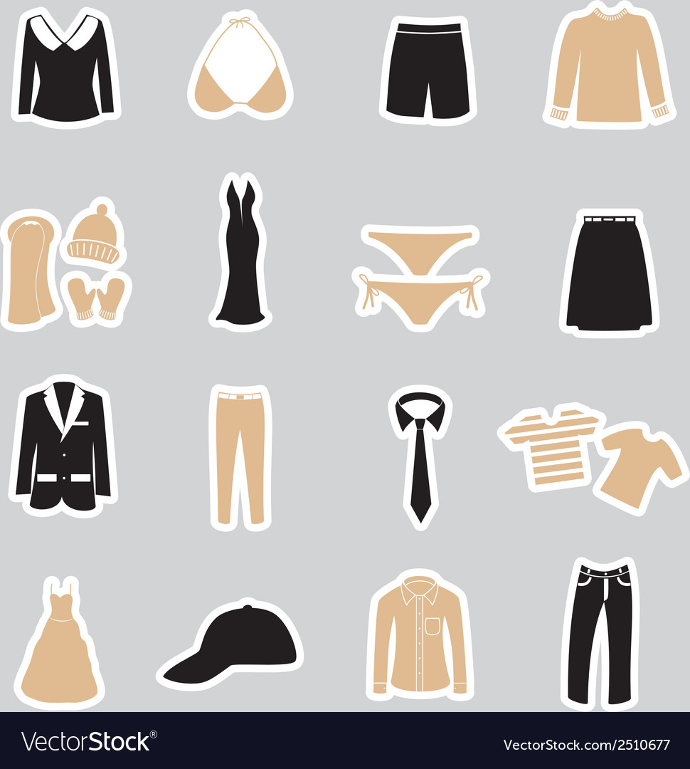 Clothing stickers set eps10 vector | Price: 1 Credit (USD $1)