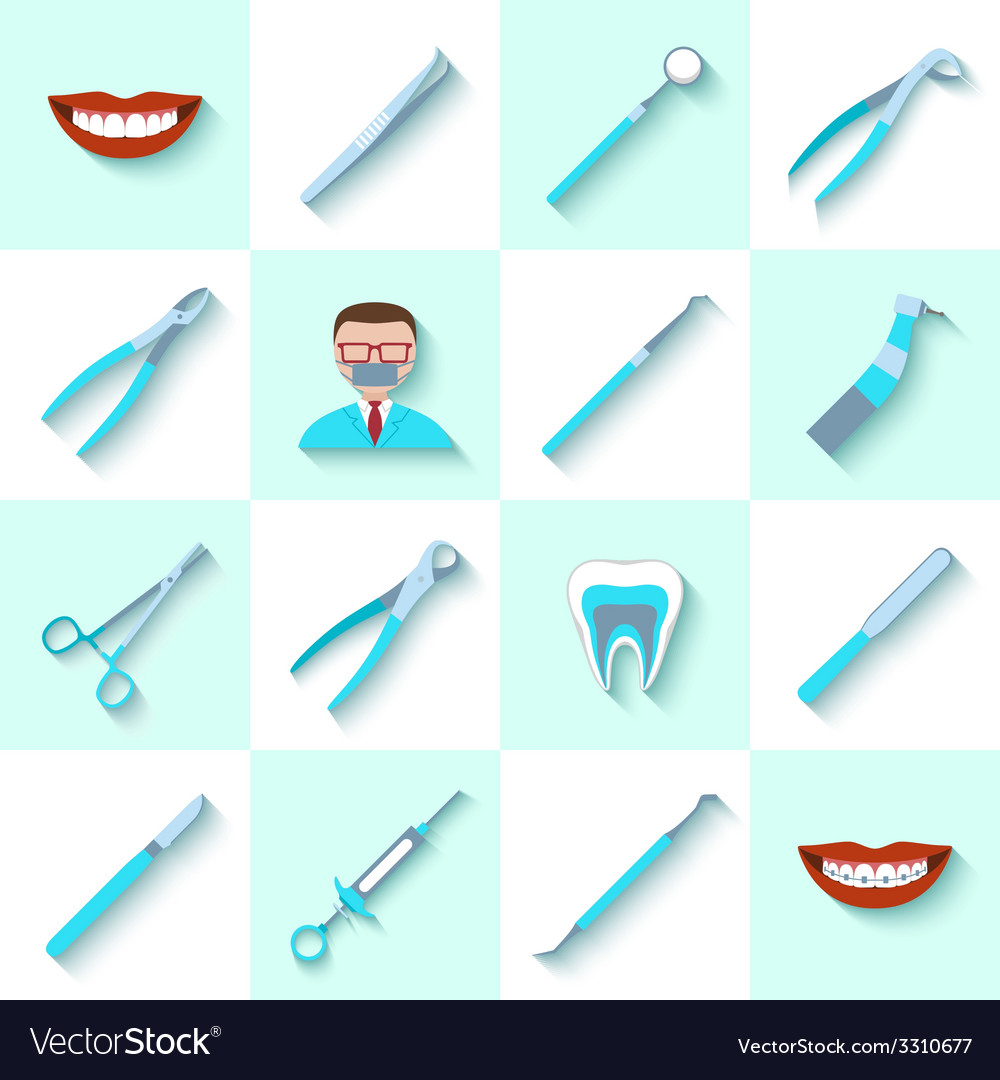 Dental instruments icons set vector | Price: 1 Credit (USD $1)