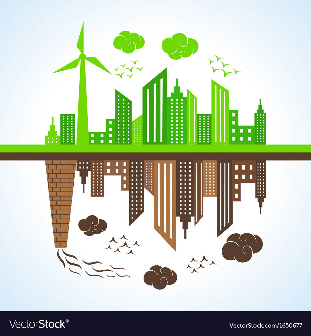 Eco and polluted city vector | Price: 1 Credit (USD $1)