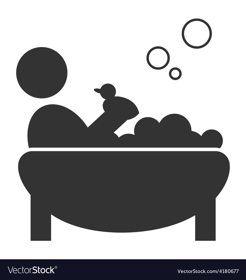 Flat bathing icon with duck isolated on white vector | Price: 1 Credit (USD $1)