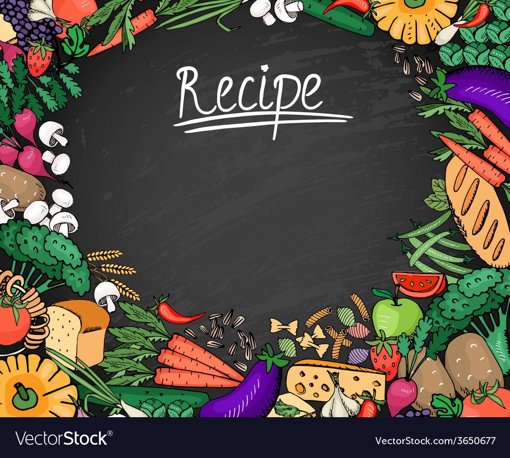 Food recipe background on black chalkboard vector | Price: 1 Credit (USD $1)