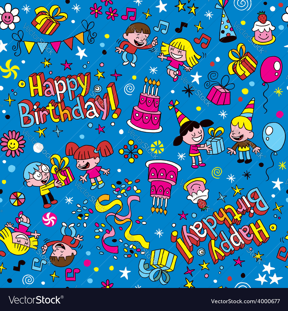 Happy birthday kids party pattern 2 vector | Price: 1 Credit (USD $1)