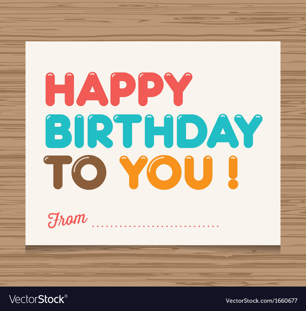 Happy birthday to you card vector | Price: 1 Credit (USD $1)