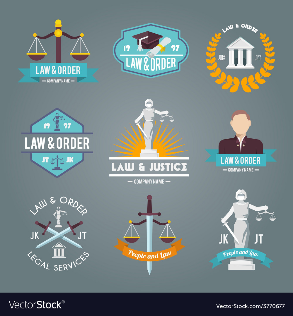 Law labels icons set vector | Price: 1 Credit (USD $1)