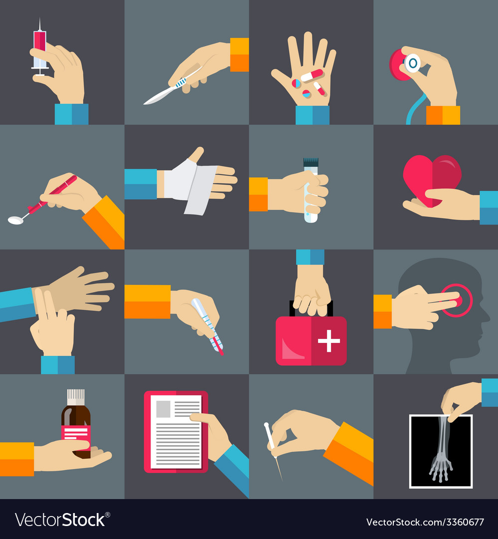 Medical hands flat icons set vector | Price: 1 Credit (USD $1)