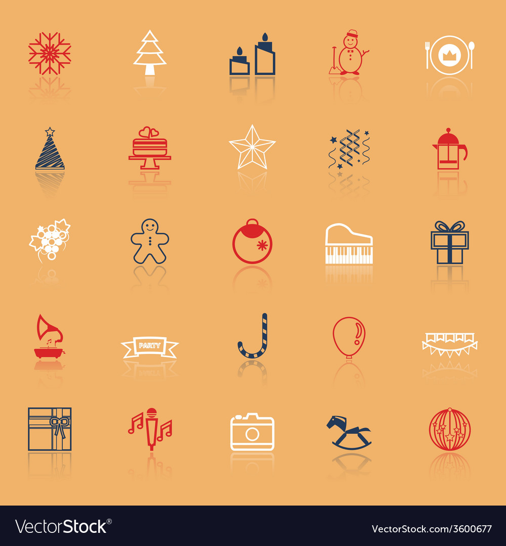 New year and christmas line icons on with reflect vector | Price: 1 Credit (USD $1)