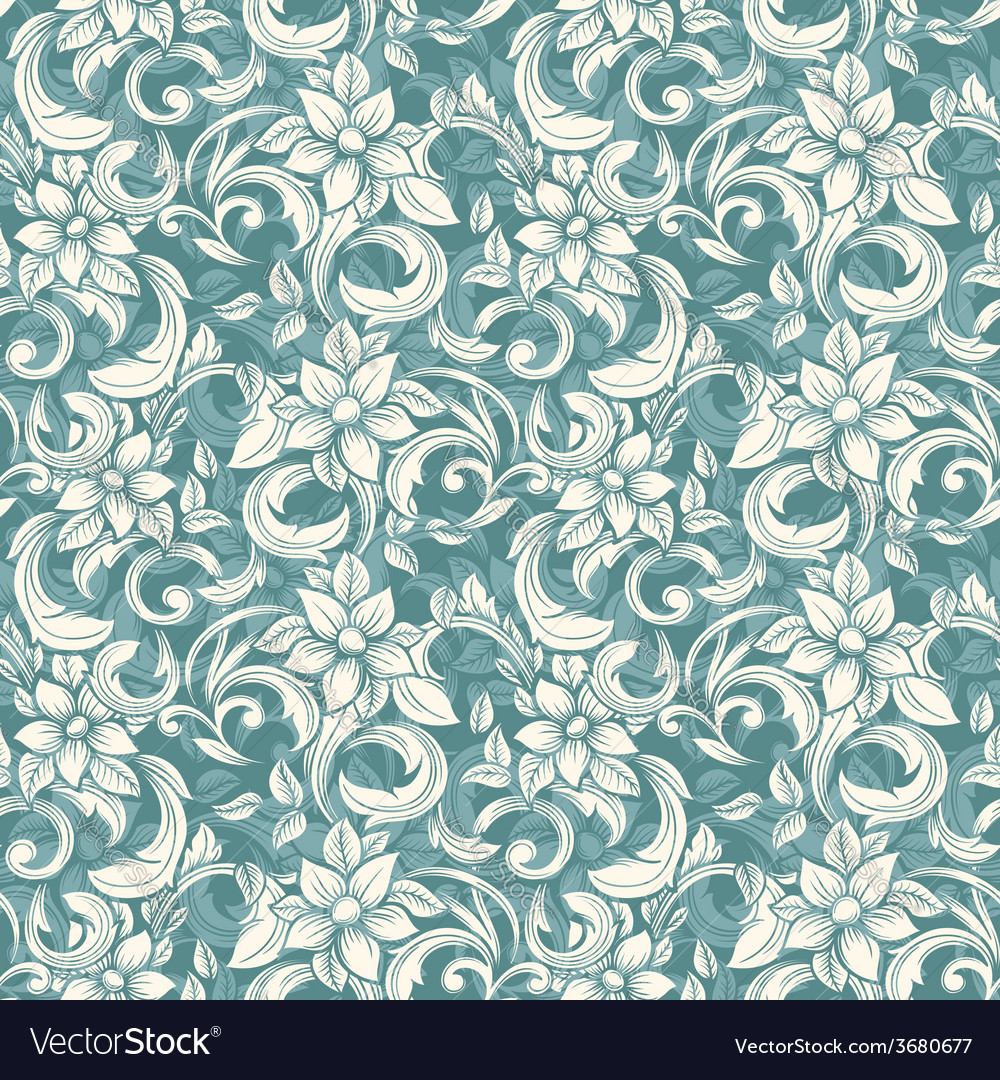 Seamless beige floral pattern in the style of vector | Price: 1 Credit (USD $1)