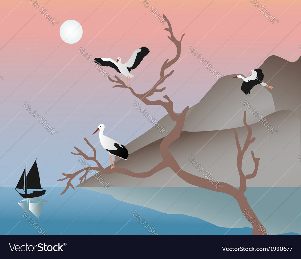 Storks on a tree vector | Price: 1 Credit (USD $1)